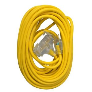 12/3 Heavy-Duty 15-Amp SJTW General Purpose 3-Outlet Extension Cord with Lighted End, 50