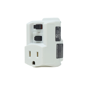 Single Outlet NEMA 5-15 P & R White GFCI Adapter 120V/15A