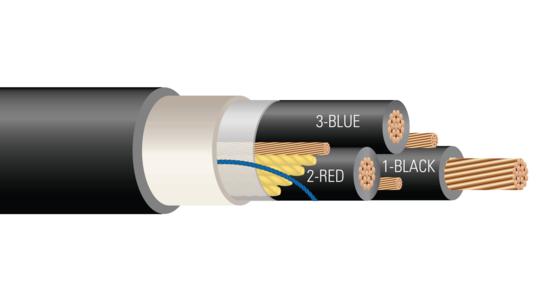 3/C 600 or 1000 Volt Cu (FR-XLPE) XHHW-2 CPE Jacket Power Cable Halo-Flex™ Type TC-ER-HL