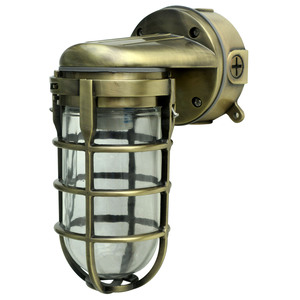 Traditional 100W Incandescent Wall Light, Antique Brass