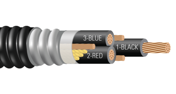 3/C CU 600V XLPE XHHW-2 ARMOR-X PVC Power Cable With Ground VFD