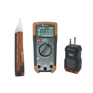 Electrical Test Kit consisting of 600V manual-ranging multimeter, 120V AC receptacle tester, and 90-1000V non-contact voltage tester