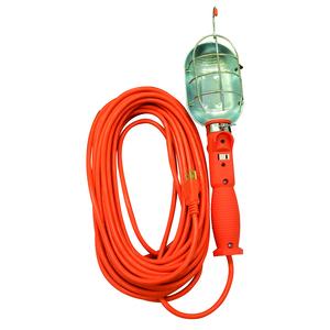 692SW 16/3-Gauge SJTW Trouble Light with Metal Guard & Outlet, Orange, 75-Watt, 50-Foot