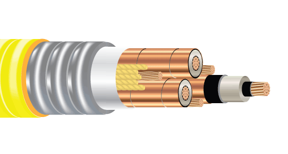 3/C CU 2.4kV 90 EPR ARMOR-X PVC MV-105 VFD. Type MC-HL