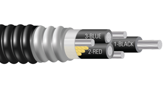3/C AL 600V XLPE XHHW-2 AIA PVC Power Cable With Ground AT 50%. Silicone Free