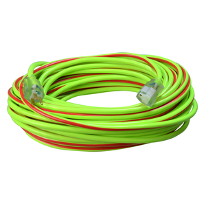 12/3 Heavy-Duty 15-Amp SJTW High Visibility General Purpose Extension Cord with Lighted End, 100