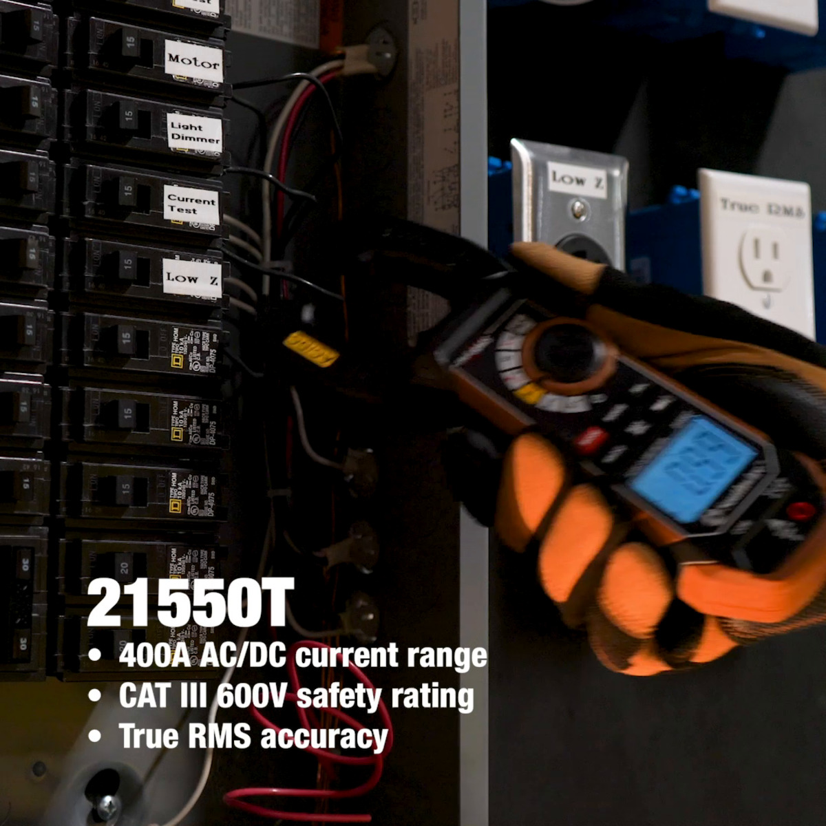 400A AC/DC Clamp Meter with True RMS, Built-In NCV, Worklight, and Third-Hand Test Probe Holder
