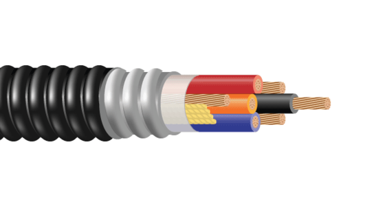 3/C or 4/C CU 600V XLPE XHHW-2 ARMOR-X PVC Cable With Three Grounds VFD Cable