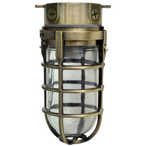150W Incandescent Security Light Ceiling Mount, Antique Brass